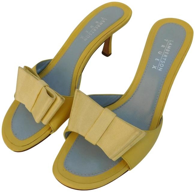 Item - Yellow Leather with Bow Sandals Size US 8 Regular (M, B)