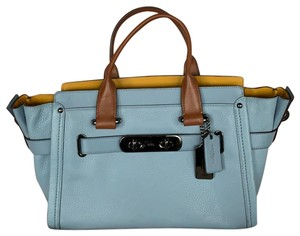 Coach Leather Swagger Carryall Satchel in Blue