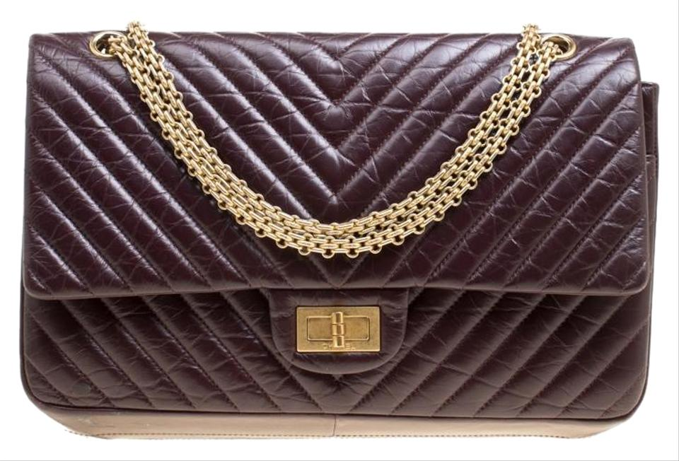 70a883572876 Chanel 2.55 Reissue Chevron Quilted Reissue Classic 227 Flap Burgundy  Leather Shoulder Bag