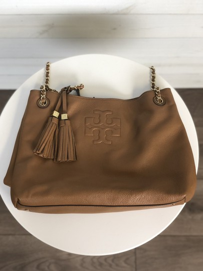 Tory Burch Leather Tote in Brown/Tan
