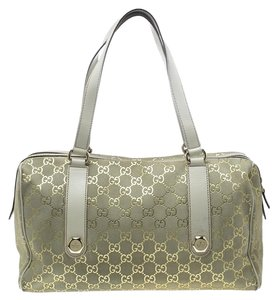 Gucci Suede Leather Satchel in Beige