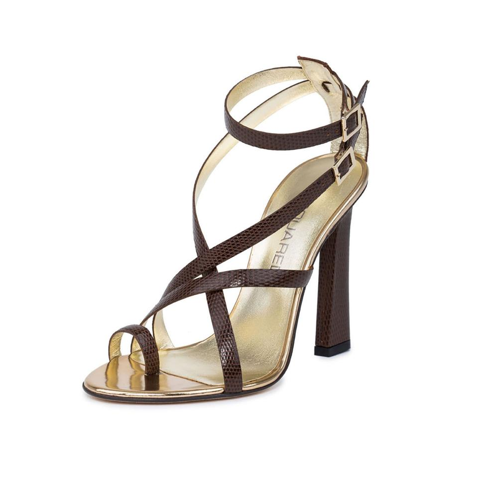 6765f924d9 Dsquared2 Brown New Dsq2 Lizard Embossed Leather Strappy Stiletto ...