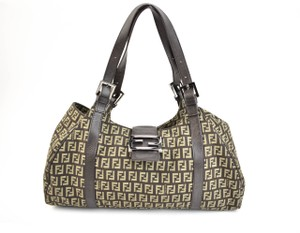 Fendi Ff Logo Leather Beige Shoulder Bag