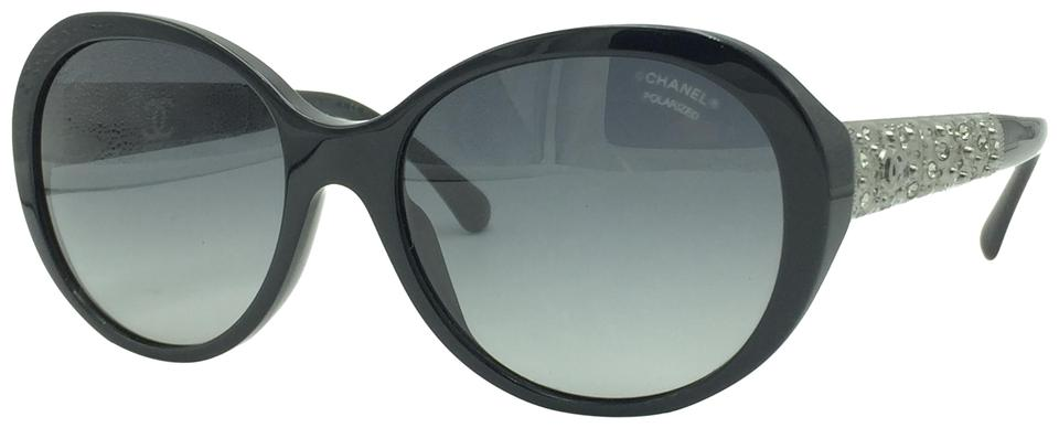 9ee29d0618 Chanel Black w  Crystals Bijou Butterfly Polarized Sunglasses 5290 501 S8  Image 0 ...