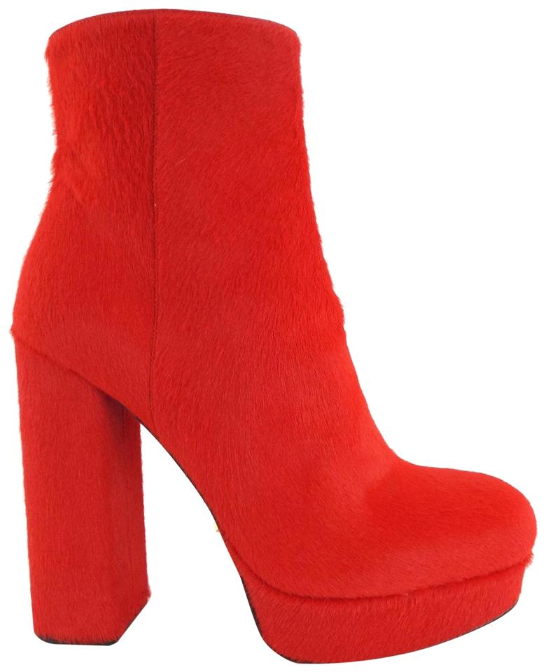 lace up in best selection of arriving Prada Lacca Red Calf Hair Platform Block-heel Ankle Boots/Booties Size EU  37.5 (Approx. US 7.5) Regular (M, B)