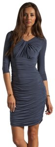 Halston Ruched Knot Front Fitted Stretch 3/4 Sleeves Dress