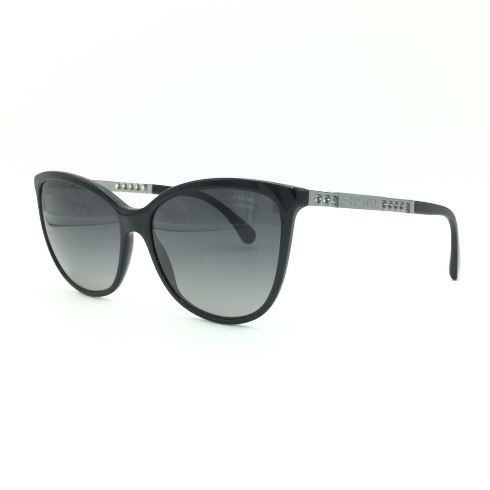 4b674d72cb Chanel Black   Silver Chain Cat Eye Polarized Sunglasses 5352 501 S8 Image  0 ...