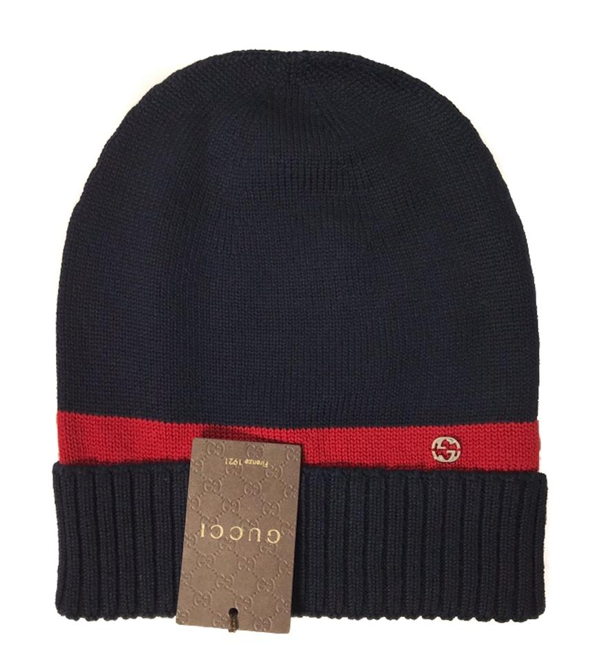 d2df5c8b310ba Gucci Multicolor 494598 New Port Webstripe Beanie Blue M Hat - Tradesy