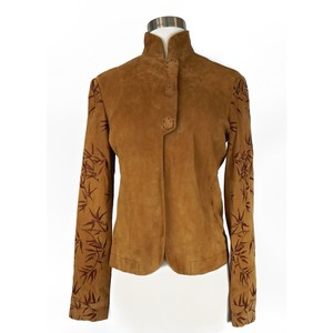 Shanghai Tang Lambskin Suede Embroidered Soft Brown Leather Jacket