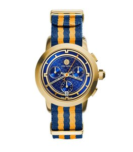 Tory Burch $500 NWT Blue Dial Gold Tone Chronograph Nylon Watch TRB1020