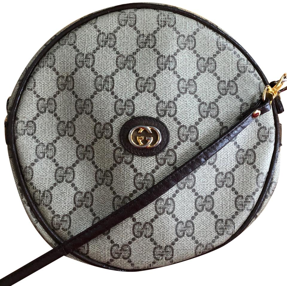 10f5bd585 Gucci Rare Vintage Canteen Round Circular Leather Monogram Brown Canvas  Cross Body Bag
