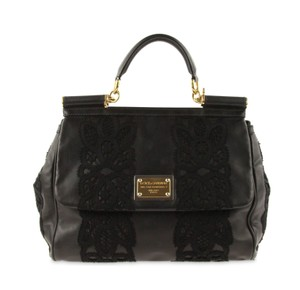 Dolce&Gabbana Lace Leather Tote in Black