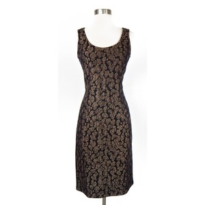 St. John short dress Black, brown, cream Sheath Stretchy Leopard Animal Print on Tradesy