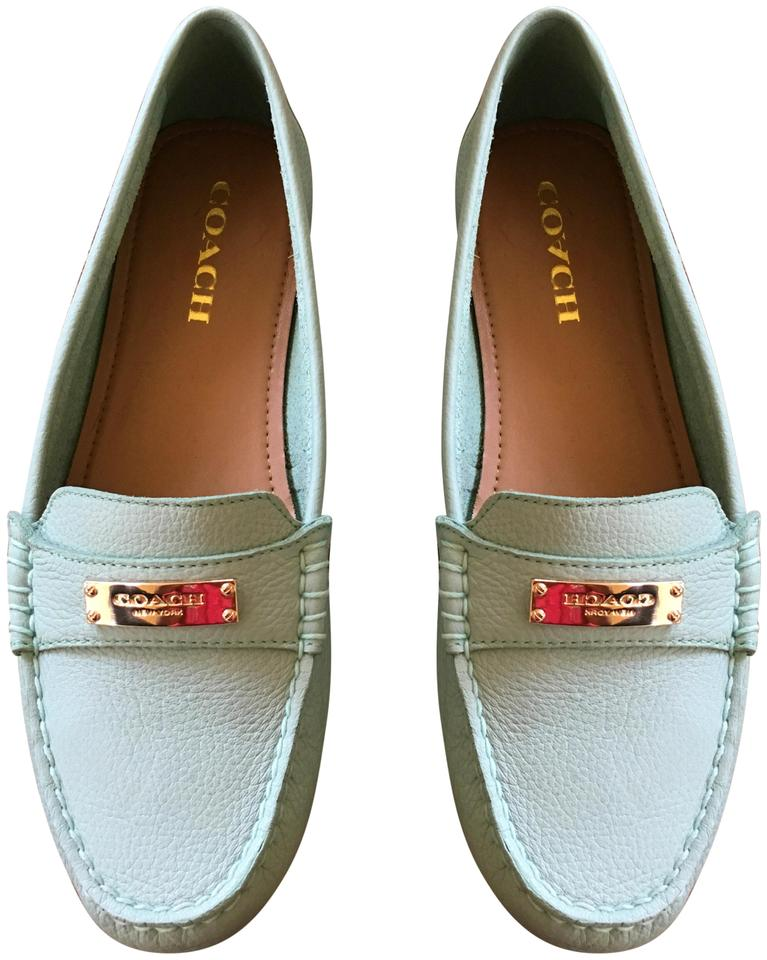6f7dd210f41 Coach Fredrica Loafers Gold Buckle Mint Pistachio Flats Image 0 ...