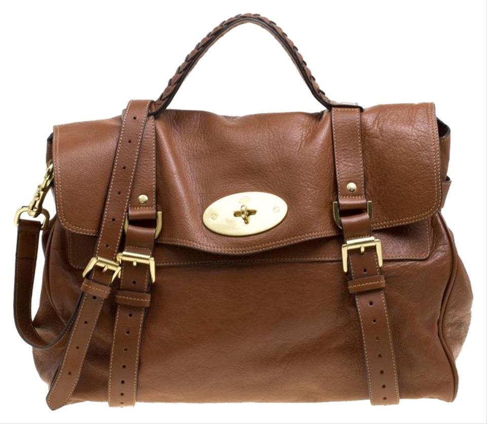 275bad0b7532 Mulberry Oversized Alexa Top Handle Brown Leather Shoulder Bag - Tradesy