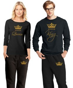 Black and Gold Matching Couple Outfit Matching Pajamas His Hers Pajamas Set New Other