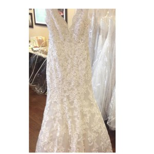 Allure Bridals Ivory/Cafe Lace 9104 By Feminine Wedding Dress Size 10 (M)