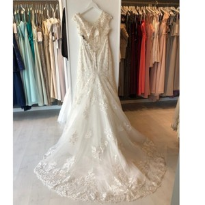 Allure Bridals Ivory/Nude Lace 3003 By Feminine Wedding Dress Size 10 (M)