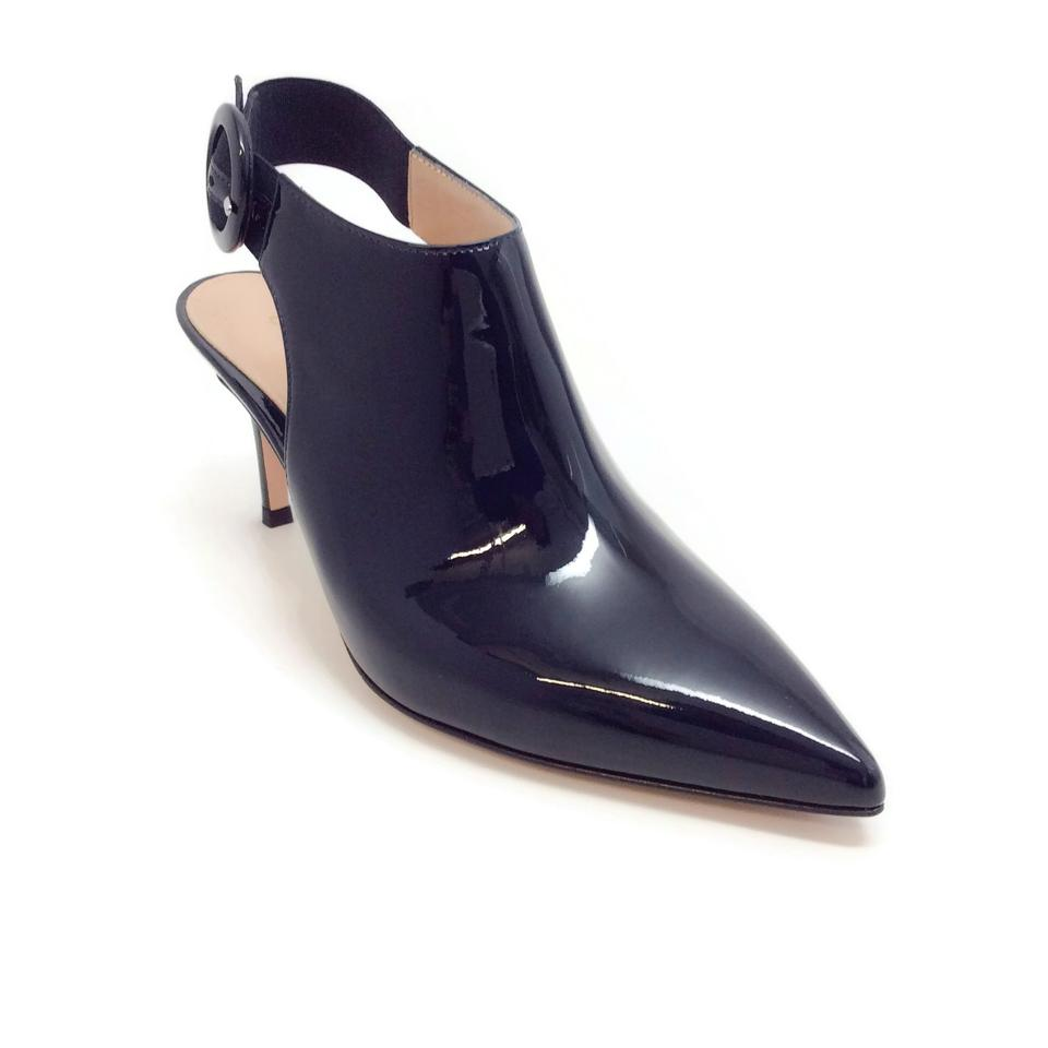 4e13be30ca45 Gianvito Rossi Navy Blue Varnished Patent Slingback Pumps Size EU 37 ...