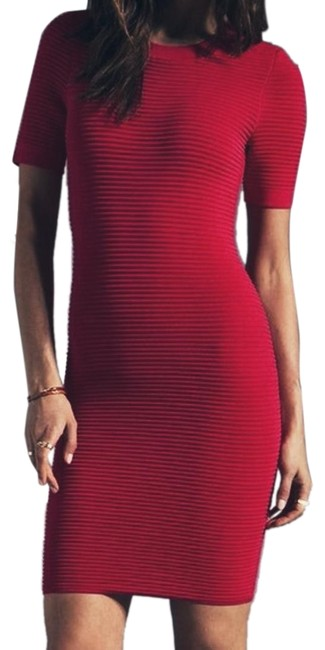 Item - Red Sleeve Short Night Out Dress Size 4 (S)