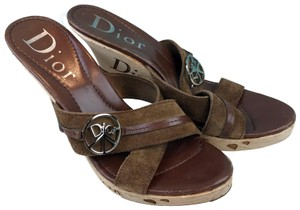 Dior Christian Suede Peace Love Brown Sandals