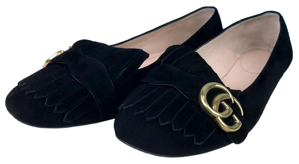 98b44705e0b15 Gucci Black Marmont Suede Fringe Gg Loafers Women s Sale Flats Size ...