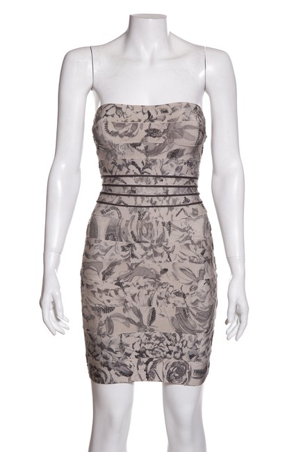 Item - Grey Floral Printed Bandage Short Night Out Dress Size 0 (XS)