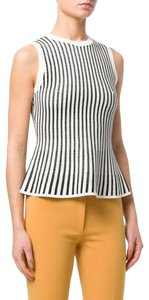 Theory Knit Stretch Sleeveless Prosecco Top Black/Eggshell