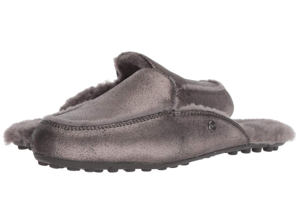 d410ec9e424 UGG Australia Gunmetal New Lane Metallic Suede Slippers Mules/Slides Size  US 6 Regular (M, B)