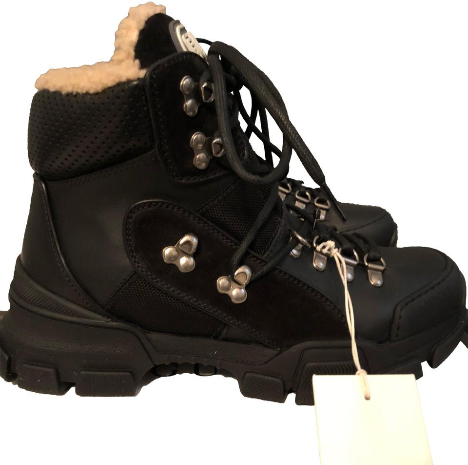 39ca46fd248 Gucci Black Flashtrek Shearling Lined Hiker Boots Booties Size EU 39  (Approx. US 9) Regular (M