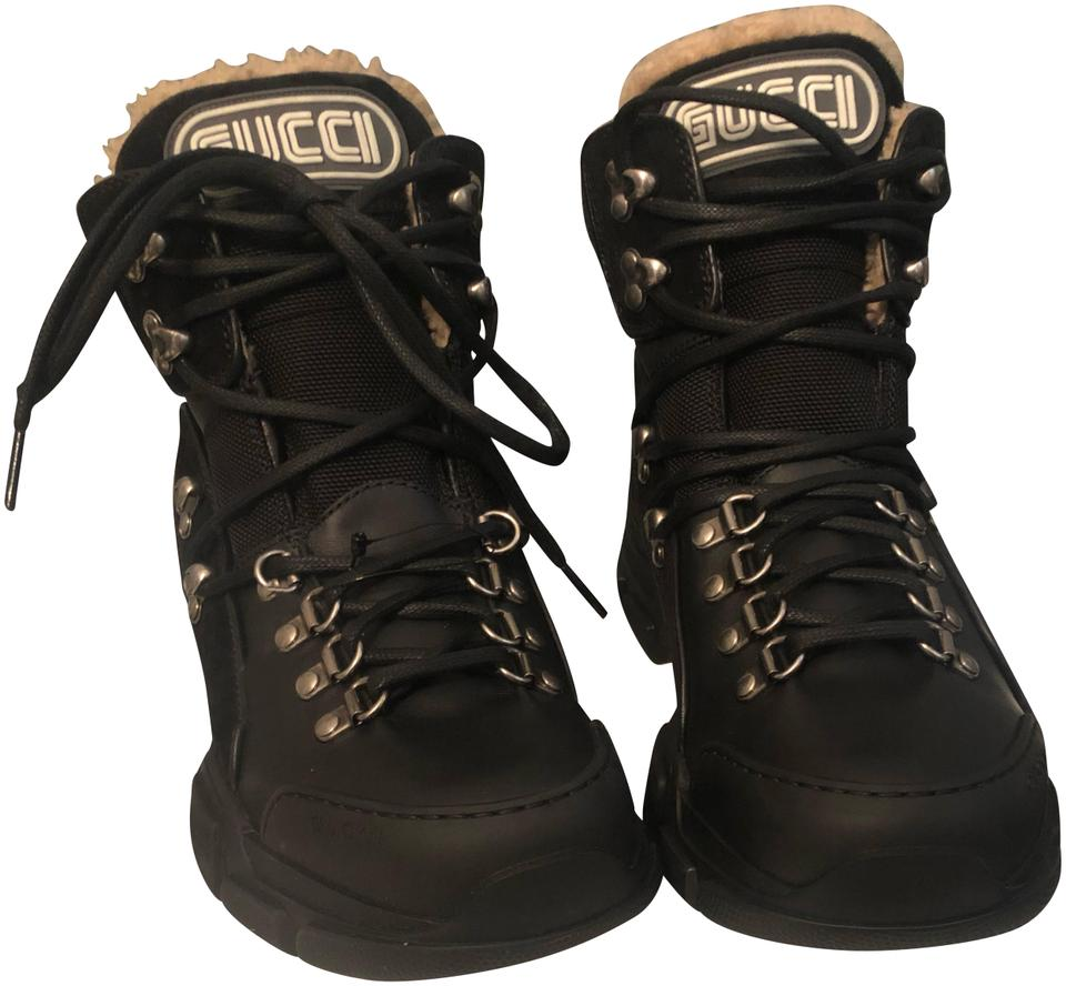 6a7420b859a Gucci Black Flashtrek Shearling Lined Hiker Boots Booties Size EU 39 ...