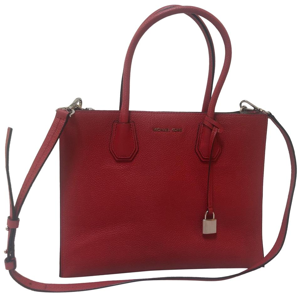 c8b8bcc36470 MICHAEL Michael Kors Mercer Large Pebbled Accordion Tote Red Leather Cross  Body Bag
