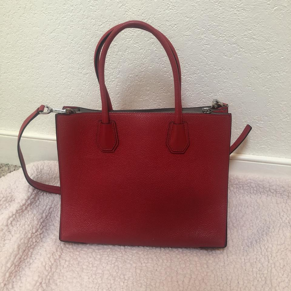 1864e4bf7578 MICHAEL Michael Kors Mercer Large Pebbled Accordion Tote Red Leather Cross  Body Bag