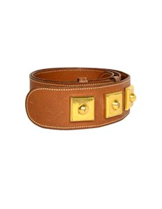Hermès Leather Belt With Gold Hardware Sz S