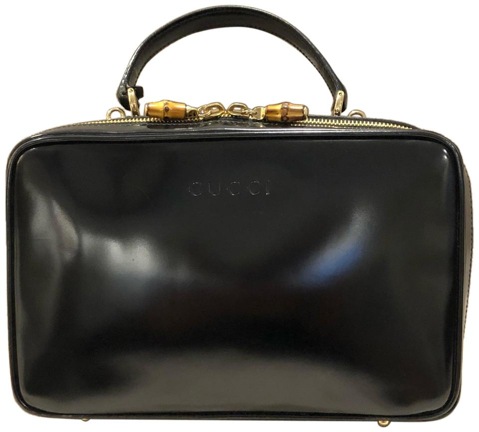 17b24675efc Gucci Vintage Lunch Box with Detachable Strap Black Patent Leather ...