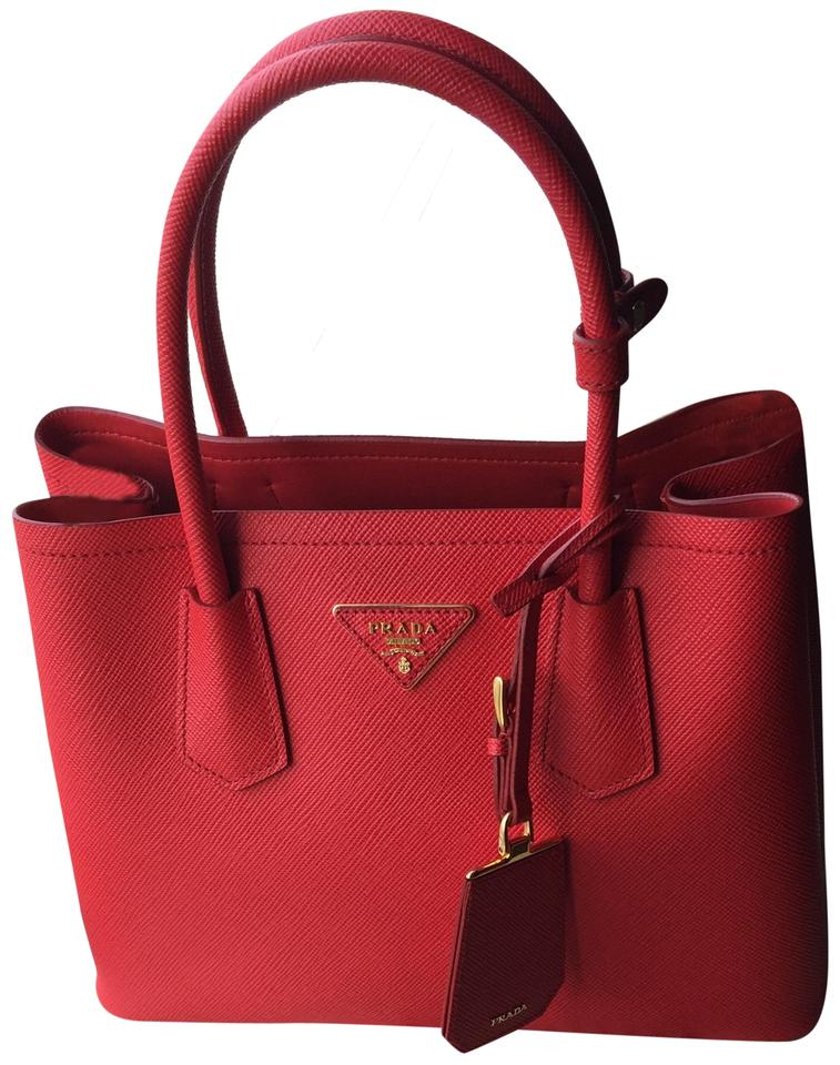 Prada Double Cuir Saffiano Small Red (Lacca) Leather Tote - Tradesy e30f61b6d7601