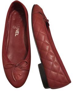 9cf3f4150 Chanel red Flats. Chanel Red Quilted Caviar Leather Cap Toe Ballet Flats  Size US 6.5 Regular (M ...