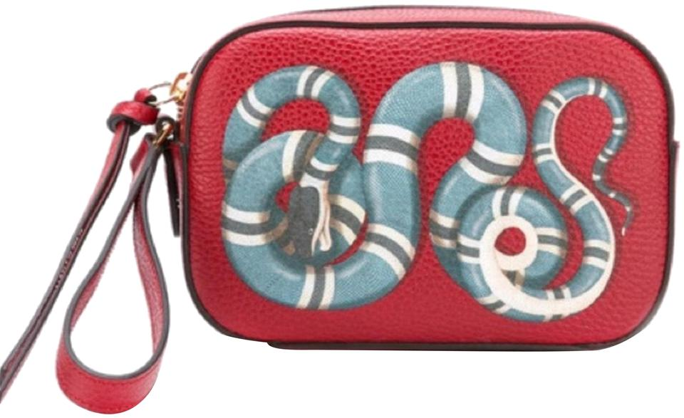 49c72721503c01 Gucci Camera Bag Kingsnake Red Leather Clutch - Tradesy