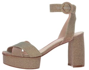 Stuart Weitzman Platform Evening Formal Gold Sandals