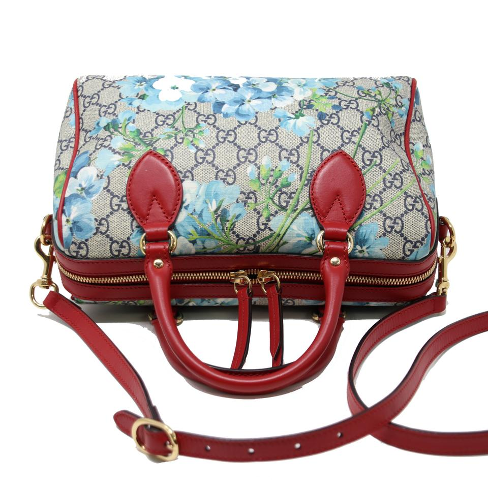 e7aa185f4c5b Gucci Boston Hibiscus Gg Blooms Supreme Small Top Handle Red Leather ...