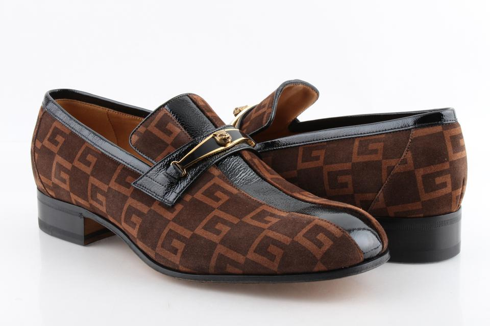 779c47b57bd Gucci Brown Logo-print Striped Suede Loafers Shoes Image 0 ...