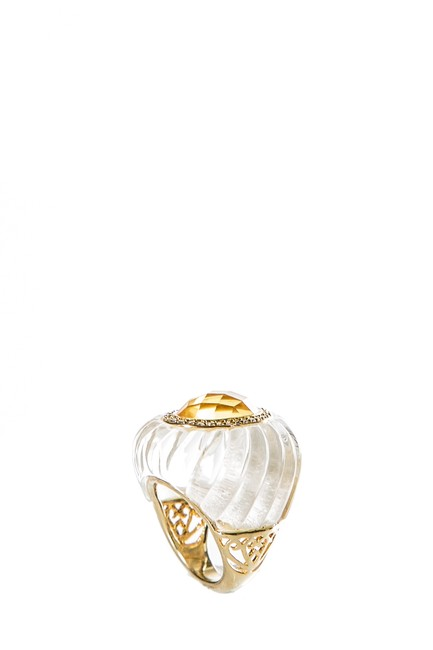 Item - Gold Clear Resin & Yellow Crystal Ring
