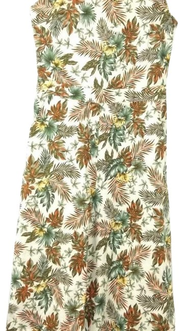 Item - Tan Brown Green & Orange XS Womens Capri Flare Size Palm Leaf Linen Blend #963-00123 Romper/Jumpsuit