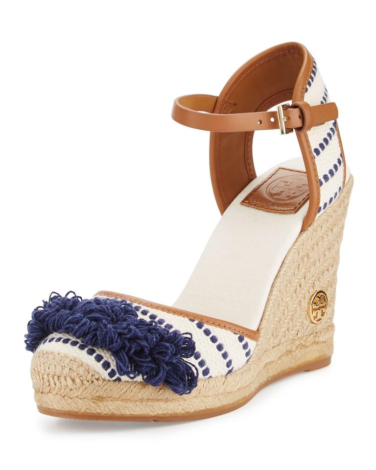 dad055ab488026 Tory Burch Espadrille Striped Fringe Hem White Navy Wedges Image 0 ...