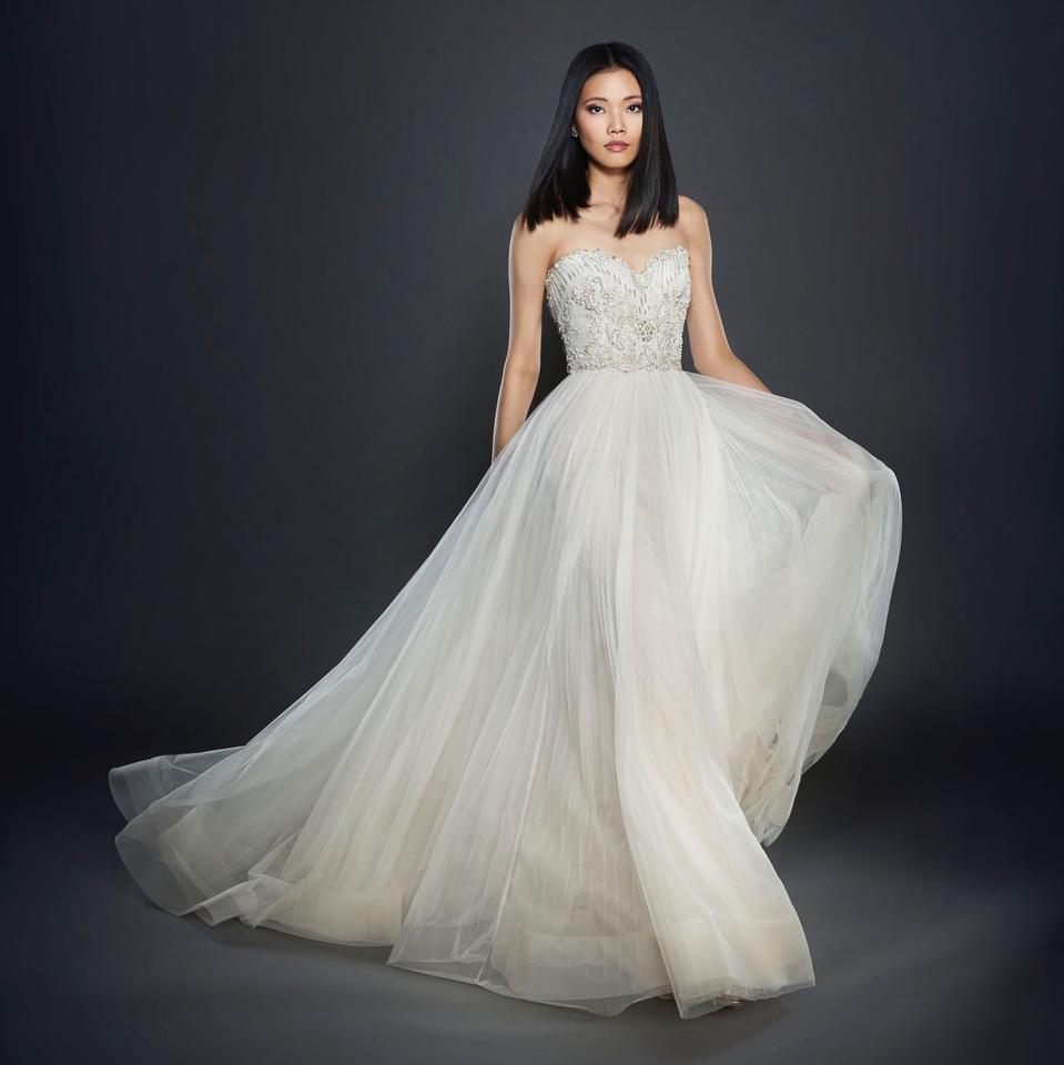 Price Of Lazaro Wedding Gowns: Lazaro Nude/Ivory Strapless Tulle Organza Embellished Gown