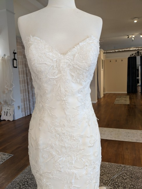 Maggie Sottero Ivory Over Ivory Tulle Trena Feminine Wedding Dress Size 8 (M) Maggie Sottero Ivory Over Ivory Tulle Trena Feminine Wedding Dress Size 8 (M) Image 1