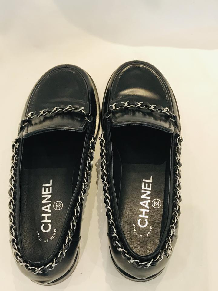 0f2896d3f Chanel Black Cc Leather Chain-link Loafers Flats Size EU 36.5 ...