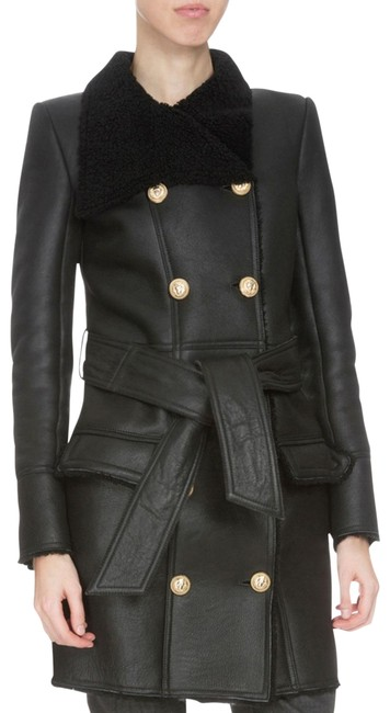 Item - Black Fur Shearling Double Breasted Button Coat Jacket Size 6 (S)