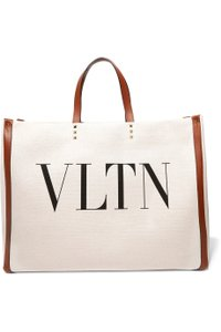Valentino Vltn Canvas Leather Tote in neutral, brown, gold
