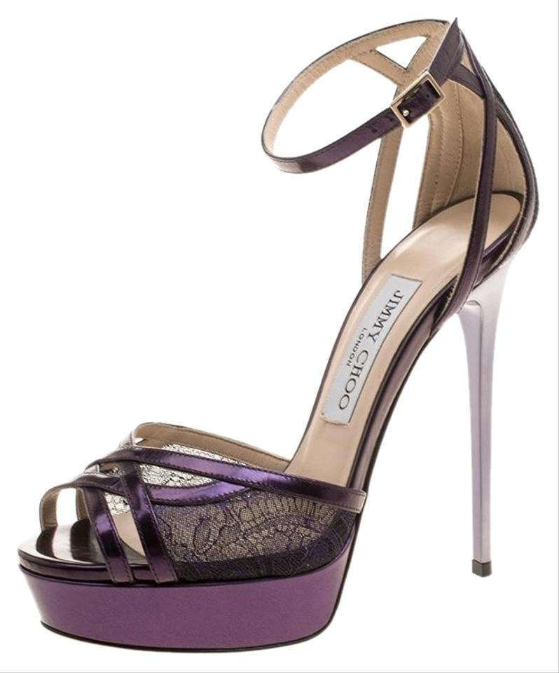 ce1932423cc7 Jimmy Choo Purple Leather and Lace Laurita Platform Ankle Strap ...